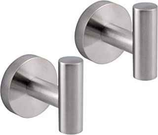 Bathroom Towel Hook SUS 304 Stainless Steel Single Coat/Robe Clothes Hook for Bath Kitchen Contemporary Hotel Style Wall Mounted 2 Pack Brushed Finish