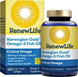 Renew Life Norwegian Gold Adult Fish Oil - Critical Omega, Fish Oil Omega-3 Supplement - Gluten & Dairy Free - 120 Burp-Free Softgel Capsules (Package May Vary)