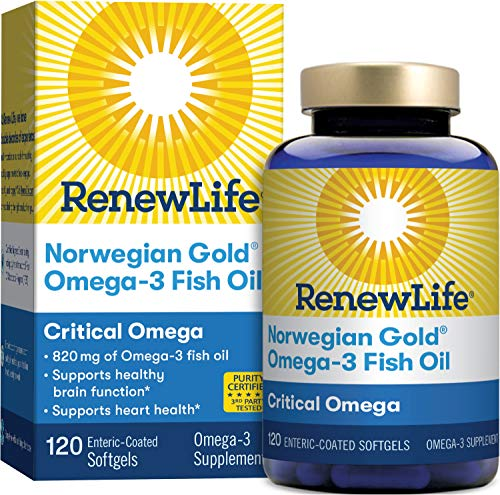 Renew Life® Norwegian Gold® Adult Fish Oil - Critical Omega, Fish Oil Omega-3 Supplement - Gluten & Dairy Free - 120 Burp-Free Softgel Capsules