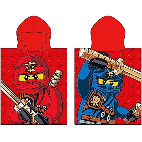 Kinder Kaputzen Poncho Lego Ninjago rot 50 x 115 cm 100% Baumwolle Bade-Poncho Bademantel Badetuch Strandtuch Badelaken Duschtuch Handtuch Cole Jay Kai Lloyd Zane Nya Misako Sensei Wu zur Bettwäsche