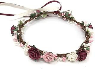Daddasprincess Burgundy flower girl crown wedding bridal headpiece