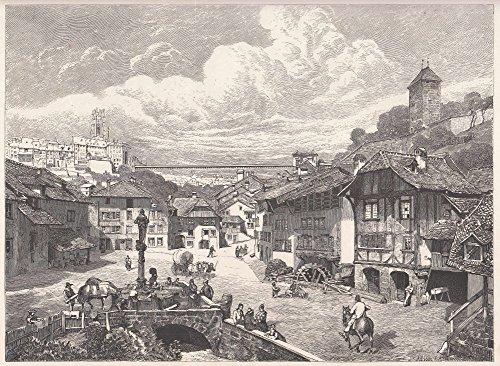 Freiburg i. Ü. - Sehr schöne Innenstadtansicht mit dem Treue-Brunnen im Vordergrund, im Hintergrund die Hängebrücke (Zähringer Brücke). [Grafik]