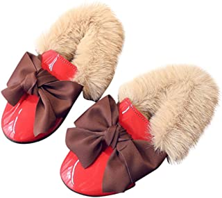 Yangguang Girls Furry Loafers with Bow in Red Colour