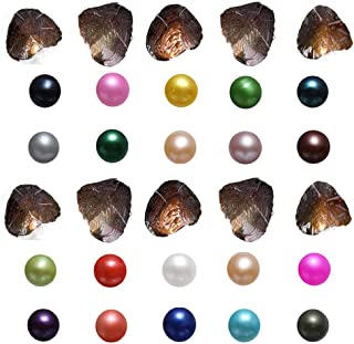 Freshwater Cultured Oysters with Pearl Inside Wish and Lucky Mixed Colors Round Pearls Total 50Pcs/Lot (7-8mm)