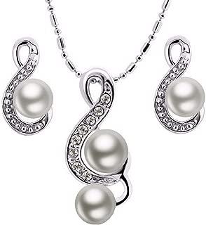 Set - Set de Mujer - Dos Piezas - Collar - Pendientes - Nota Musical - Clave de Sol - Perla Blanca - Idea de Regalo