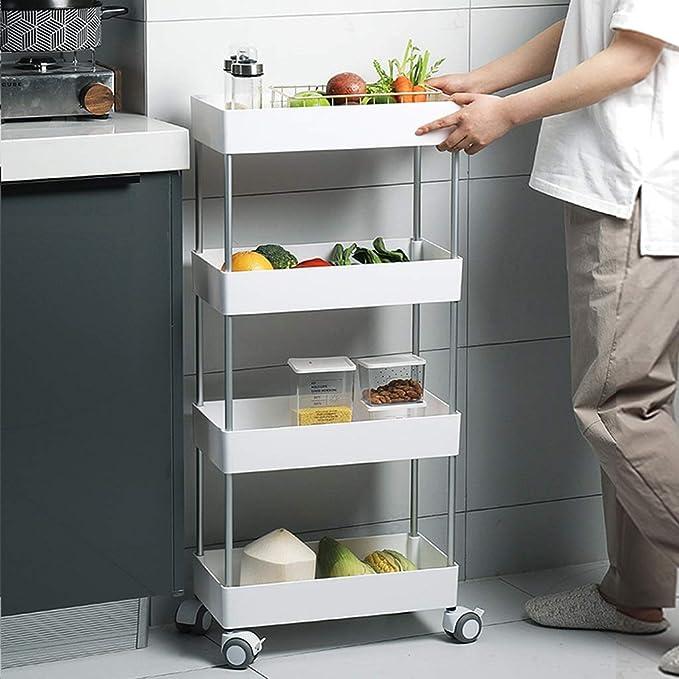 Carro Auxiliar de Cocina con Ruedas para Fruta y Verdura,3 Niveles FLM Carro Multiusos