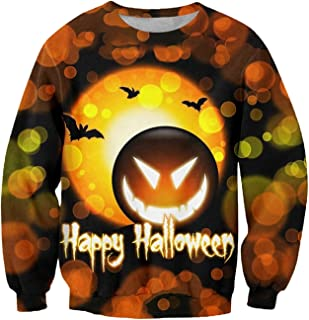 Halloween Sweatshirt سوياتشيرتس هالوين للرجال اليقطين الخفافيش المطبوعة ازياء البلوز سترة في سن المراهقة الفتيان بلايز Lon...
