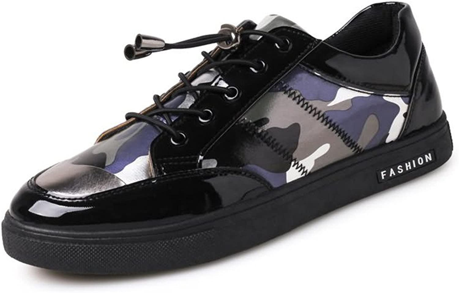 MUMUWU Men's Fashion Sneaker Flat Heel Lace Up Patent Leather Sports shoes Carrier