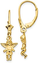 14k Yellow Gold Angel Leverback Earrings Lever Back Religious Fine Jewelry Gifts For Women For Her