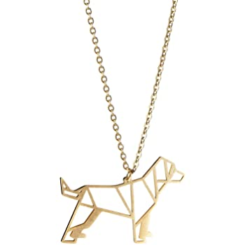 La Menagerie Dog Gold Origami Jewelry & Gold Geometric Necklace – 18 Karat Plated Gold Necklace & Dog Necklaces for Women – Dog Necklace for Girls & Origami Necklace