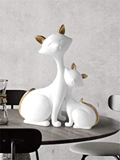 Fenghejp Nordic Small Fresh Lucky cat Decorative Ornaments Creative Home Living Room Bedroom Tabletop Decoration Wedding Birthday Gift (Color : White)