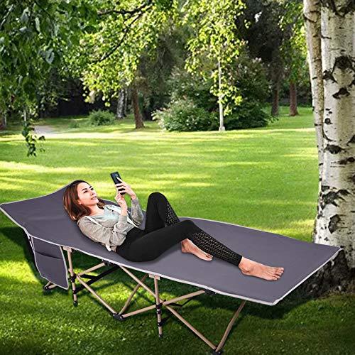 Houssem Feldbett Klappbar Campingbett mit Seitentasche und mit Transporttasche, Stabile Komfortabel Campingliege Karpfenliege für Erwachsene Kinder, Statische Belastbarkeit 122kg 190×68×35cm Grau