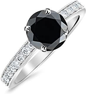 1.8 Carat 14K White Gold Classic Side Stone Pave Set With Milgrain Diamond Engagement Ring with a 1.5 Carat Black Diamond Center (Heirloom Quality)