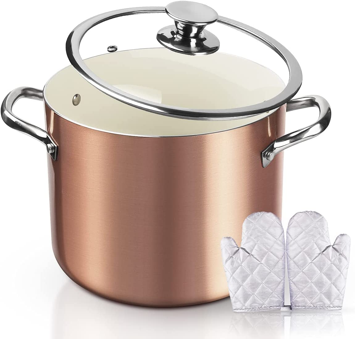 FRUITEAM Nonstick Stock Pot 7 Qt Soup Pasta with Lid, 7-Quart Rose Gold
