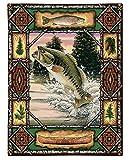 Pure Country Weavers フィッシュロッジ バス 素朴な漁師と野生動物愛好家 キャビン デンデコレーション 織タペストリー 壁アートハンギング 自然の風景 100 コットン USA 33X26