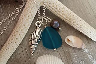 product image for Handmade in Hawaii, teal blue sea glass necklace, Freshwater purple pearl, gift box,beach glass necklace,sea glass jewelry,Hawaiian jewelry.