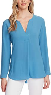 Vince Camuto Split-Neck Top Rapture Blue Small