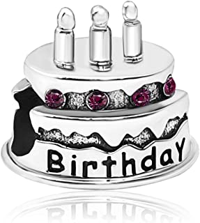 JMQJewelry Happy Birthday Birthstone Cake Candle Jan-Dec Month Crystal Charms for Bracelets