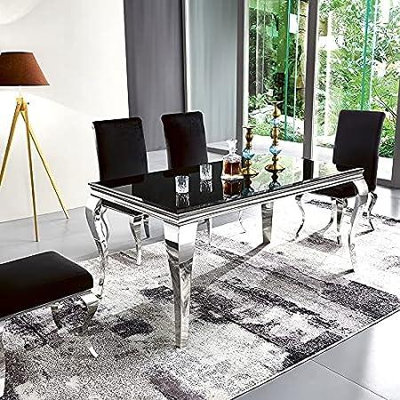 Table À Manger Design Ema - Noir, Verre, Rectangulaire, Style Baroque, 180 x 90 x 75 cm