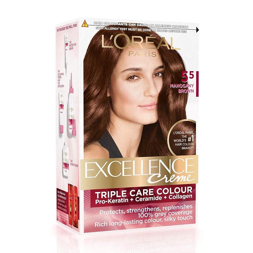 レルムあえて理解するL'Oreal Paris Excellence Creme Hair Color, 5.5 Mahogany Brown, 72ml+100g