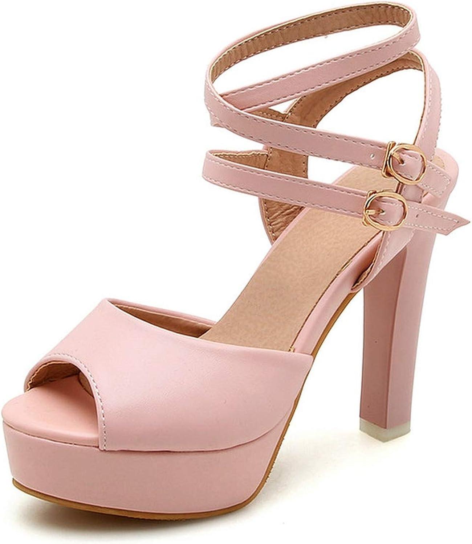 Women Sandals Pu Leather Platform Peep Toe Women shoes Square High Heel Sexy Women Sandals 34-43