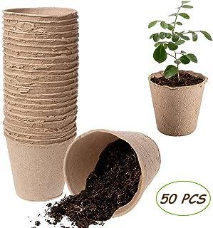 Kalolary Peat Pots, 50 PCS 3 Inch Plant Starters Biodegradable Peat Pots for Seedlings, Seedling Saplings & Herb Gardening Vegetable Tomato Seed Germination Organic Plant Starters