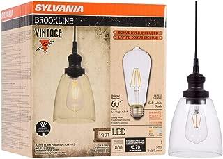 SYLVANIA General Lighting Sylvania, Antique Black 75512 Brookline Bell Pendant Light, LED, Dimmable Bulb Included Vintage Fixture