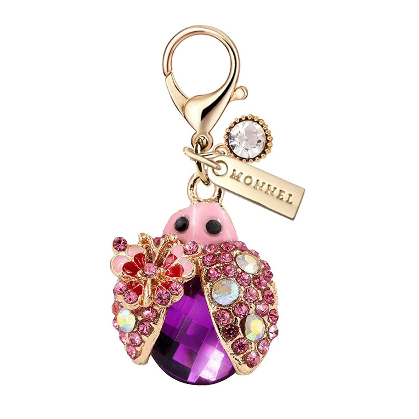 MC44 New Arrival Cute 3D Purple Crystal Big Ladybug Lobster Clasp Charms Pendants with Pouch Bag (1 Piece)