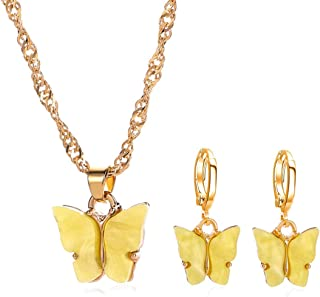 Colorful Butterfly Jewelry Set Acrylic Earrings & Necklace for Women Teens Girls, Charm Simple Fashion Jewelry, Valentine ...