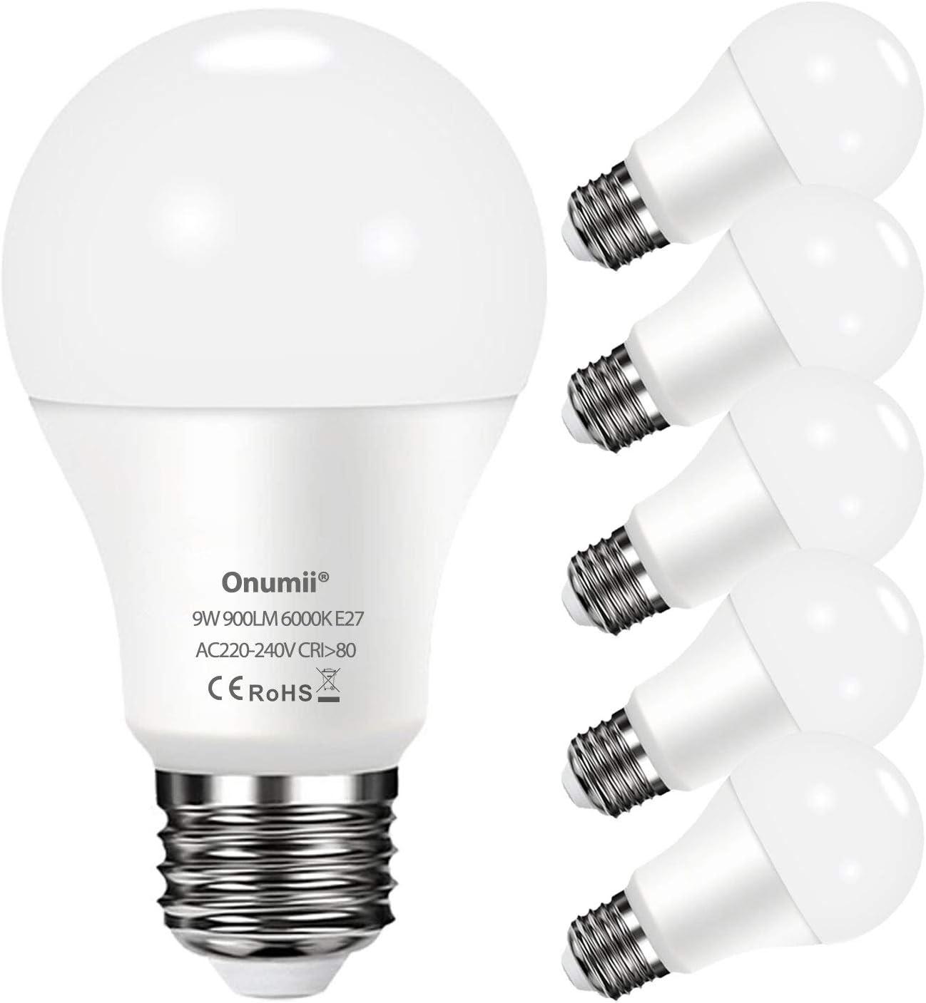 Onumii Bombillas LED E27 Luz Fria 6000K, 9W 900 Lúmenes Equivalente a 60W 75W, No Regulable, Pack de 6 Unidades