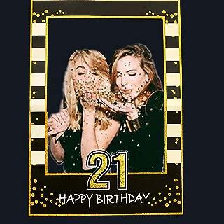 LaVenty Black Gold 21th Birthday Party Photo Booth Props 21th Birthday Photo Frame Birthday Photo Frame
