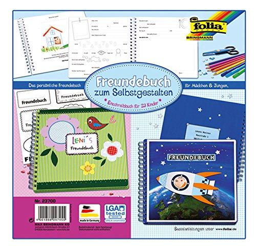 folia 23700 - Freundebuch zum Selbstgestalten, blanko weiß, Platz für 23 Freunde, mit Geburtstagskalender