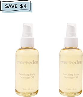 Evereden Soothing Baby Organic Oil - Natural Baby Oil & Bath Oil for Dry Skin Care and Cradle Cap, Fragrance Free Skin Oil with Avocado Oil and Sunflower Oil for Baby Care & Eczema Relief (2 Pack)