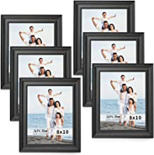 LaVie Home 8x10 Picture Frames (6 Pack, Black Woodgrain) Rustic Photo Frame Set with High Definition Glass for Wall Mount & Table Top Display
