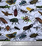 Soimoi Blauer Samt Stoff Käfer & Honigbiene Insekten