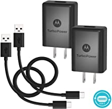 [2 Pack] Motorola TurboPower 15+ QC3.0 Chargers w/ 6.6ft USB-C cables- Moto X4,Z2 Force/Play,Z3 Play,G6,G6 Plus (Retail Box)