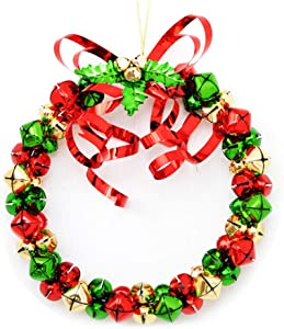 yehhad Christmas Jingle Bell Wreaths Christmas Bell Garland Door Wall Hanging Xmas Tree Ornaments with Bell Rings Bowknot for Front Door Outdoor Window Home