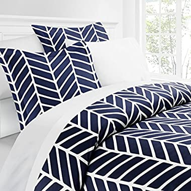 Italian Luxury Herringbone Pattern Duvet Cover Set - 3-Piece Ultra Soft Double Brushed Microfiber Printed Cover with Shams - Full/Queen - Navy/White