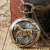 J-Love Chinese Zodiac Bronze Pferd Hohlquarz Taschenuhr Halskette Anhänger Vintage Steampunk Damen Herren Geschenke
