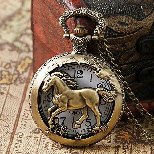 J-Love Reloj de Bolsillo de Cuarzo Hueco de Caballo de Bronce del zodíaco Chino Colgante Vintage Steampunk para Mujer Regalos para Hombre