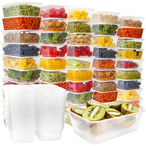 50 Plastic Food Storage Containers with Lids - Plastic Food Containers Meal Prep Containers Food Prep Freezer Containers with Lids - Plastic Containers with Lids Deli Containers With Lids [25oz]