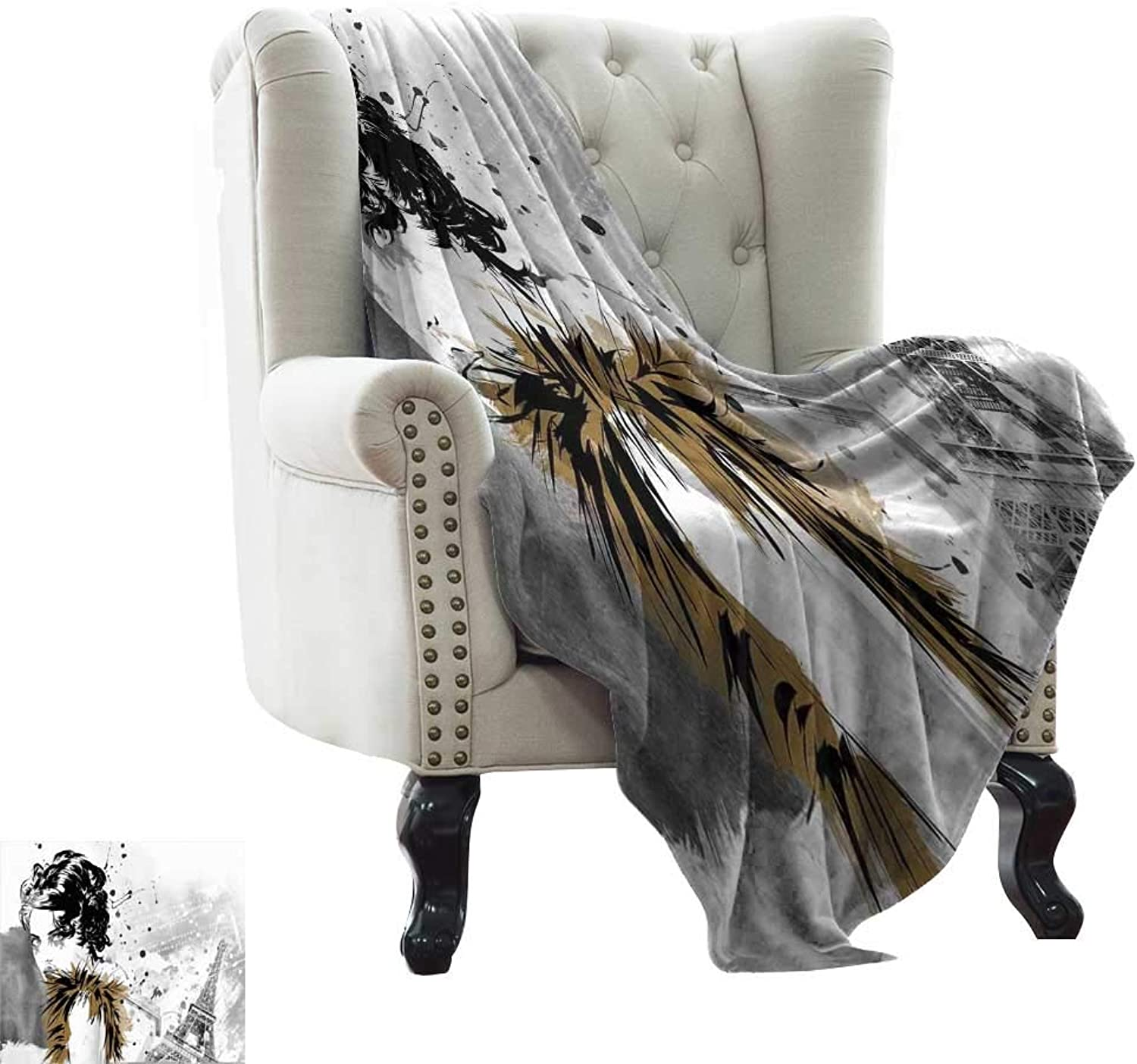 BelleAckerman Warm Blanket Modern,Posing Fashion Model Girl with Feathers and Dots Paris Eiffel Contemporary Artful,Grey White Microfiber All Season Blanket for Bed or Couch Multicolor 35 x60