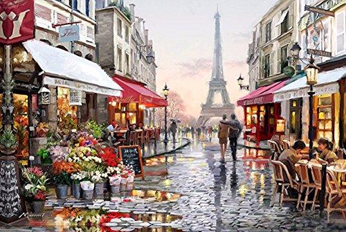 YEESAM ART Neuheiten Malen nach Zahlen Erwachsene Kinder, Eifelturm Romantic straße Paris 40x50 cm Leinen Segeltuch, DIY ölgemälde Weihnachten Geschenke