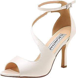 Elegantpark HP1505 Escarpins Femme Bout Ouvert Diamant Btide Cheville Boucle Sandales Chaussures de Mariee Bal
