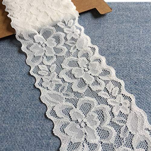 Lace Realm 2 3/4 Inches Wide Stretch Lace Ribbon with Floral Pattern Trim Lace for Headbands Garters Decorating Floral Designing & Crafts - 5 Yards (9047 White)