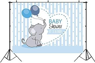 Cute Elephant Prince Boy Baby Shower Backdrop Blue Stripe Balloon Love Banner Studio Photography Props It's a Boy Newborn Party Theme Decorations 7x5ft