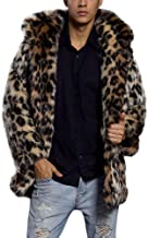 Shirt Jackets for Men with Hood.Mens Leopard Warm Thick Fur Collar Coat Jacket Faux Fur Parka Outwear Cardigan