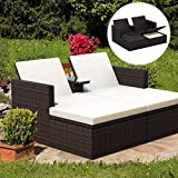 Tangkula 3 Pieces Wicker Chaise, with Storage Ottoman, Outdoor Poolside Garden Adjustable Sun Lounge Bed with Table and Cushions, Patio Furniture Set (Brown)