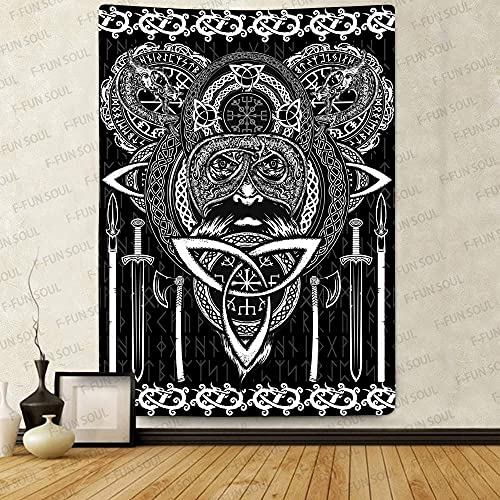 F-FUN SOUL Viking Odin God Tapestry, Large 60x80inches Soft Flannel, Norse Runes Dragon Celtic Scandinavian Psychedelic Art Wall Hanging Tapestries for Living Room Bedroom Decor GTLSFS441