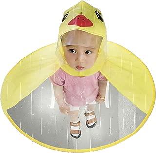 Children Rain Ponchos, UFO Yellow Duck Raincoat Umbrella Rain Hat Cape Foldable Headwear for Kids Boys Girls
